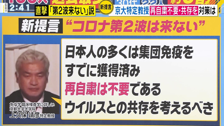 【コロナ】京大・上久保教授「日本人はすでに今年1月をピークにK型ウイルスに感染し、集団免疫を獲得した」「自粛は不要」★7  [1号★]