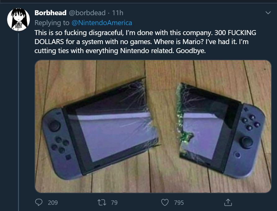 【悲報】海外の任天堂信者さん、やるゲームがなさすぎてSwitchを真っ二つにしてしまうw